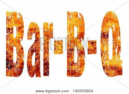 The text Bar B Q set over a roaring flames background