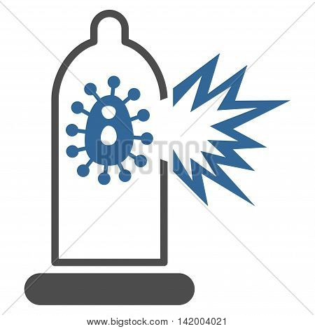Damaged Condom With Virus vector icon. Style is bicolor flat symbol, cobalt and gray colors, rounded angles, white background.