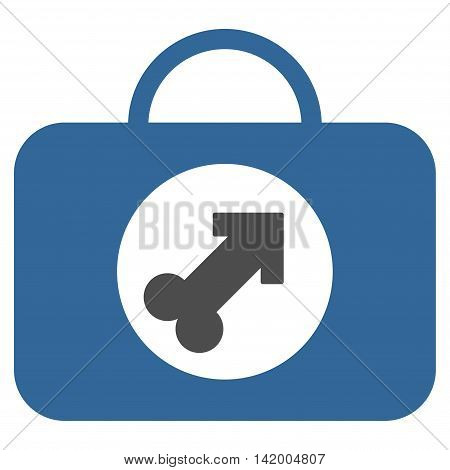 Male Erection Case vector icon. Style is bicolor flat symbol, cobalt and gray colors, rounded angles, white background.
