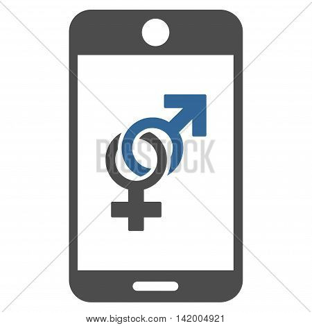 Mobile Dating vector icon. Style is bicolor flat symbol, cobalt and gray colors, rounded angles, white background.