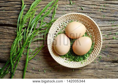 egg and acacia pennata prepare for omelet cooking Thai cuisine - calls that cha-om omelet