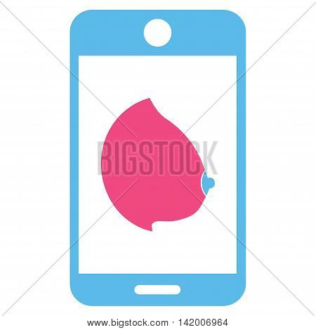 Mobile Erotic Tit vector icon. Style is bicolor flat symbol, pink and blue colors, rounded angles, white background.