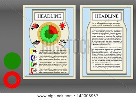 Brochure template frame a diagram and symbols. Showing the two sides of the front and reverse neutral elements are added to produce the desired chart.