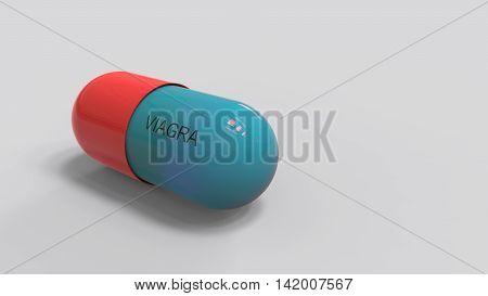 3D Render - Viagra Pill For Erectile Dysfunction Treatment