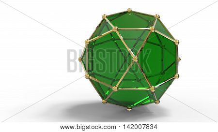 3D Render Of Shiny Luxury Crystal Sapphire Hedra.with Edges Framed With Golden Wire
