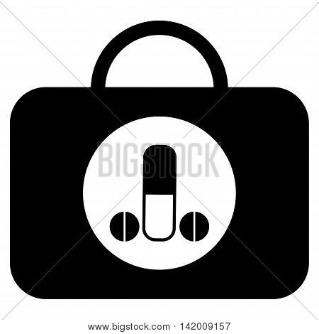 Male Sexual Toolbox vector icon. Style is flat symbol, black color, rounded angles, white background.
