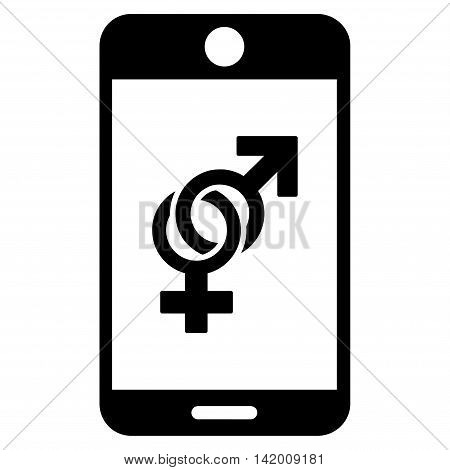 Mobile Dating vector icon. Style is flat symbol, black color, rounded angles, white background.
