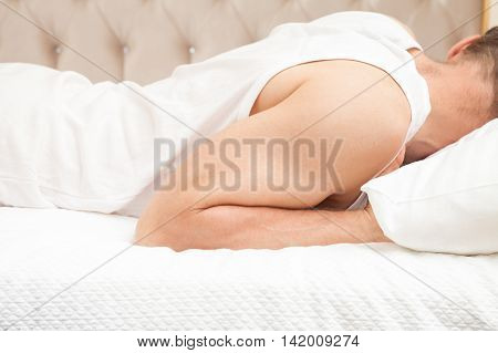 Sleeping Young Caucasian Man In White