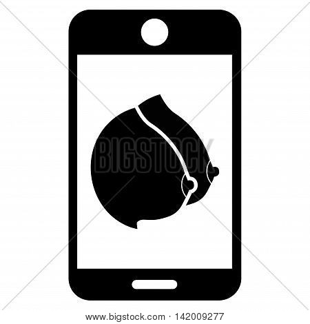 Mobile Erotic Tits vector icon. Style is flat symbol, black color, rounded angles, white background.