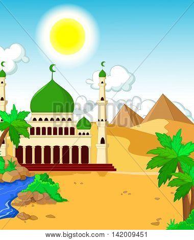beautiful mosque cartoon with desert landscape background