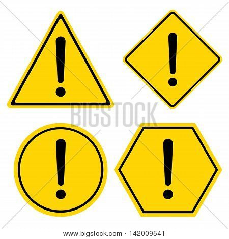 Hazard warning sign. Triangle hexagon square and Circle symbol isolated on white background.