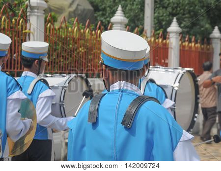 Young marching band learning by doing school at Thailand