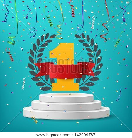 Winner, number one background with blank, red ribbon, olive branch and confetti on round pedestal isolated on blue. Poster or brochure template. Vector illustration.