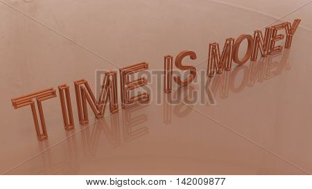 3D Rendering. Time Is Money Words With Lattice Effect On Gold Background