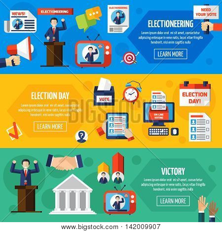 Elections and voting horizontal banners set demonstrated publicity and responsibility political candidates and voting openness flat vector illustration