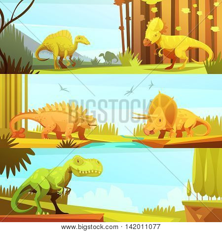 Dinosaurs in prehistoric environment 3 horizontal banners set in retro cartoon style abstract isolated vector illustration