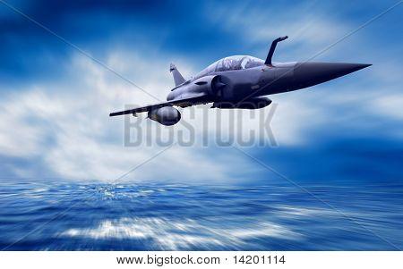 Airplan militar na velocidade