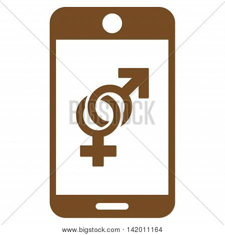 Mobile Dating vector icon. Style is flat symbol, brown color, rounded angles, white background.