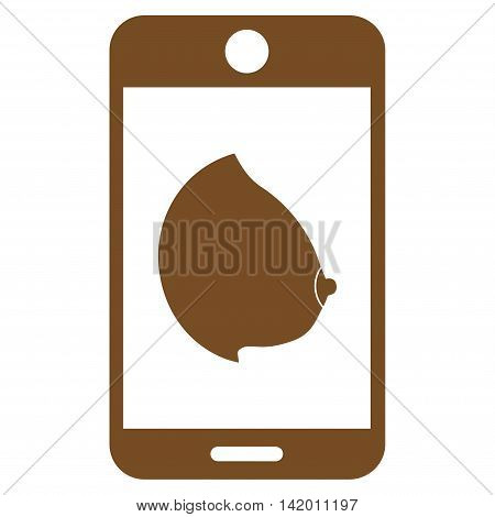 Mobile Erotic Tit vector icon. Style is flat symbol, brown color, rounded angles, white background.