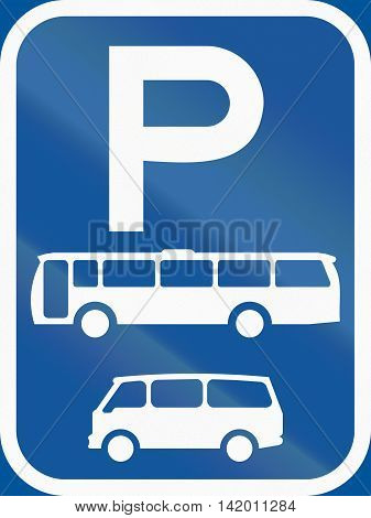 Road Sign Used In The African Country Of Botswana - Parking For Buses And Mini-buses