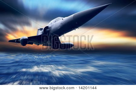 Military airplane low over the sea