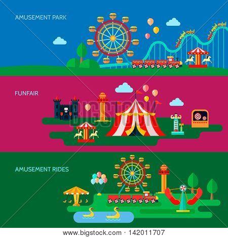 Amusement park horizontal banners set with funfair symbols flat isolated vector illustration