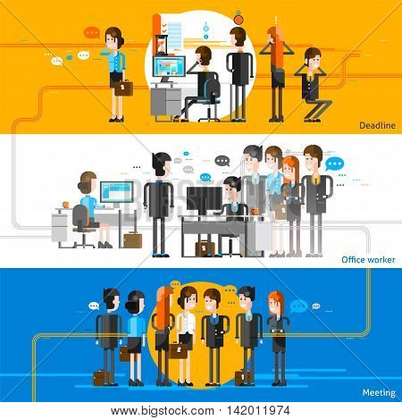Office people cartoon horizontal banners with workers groups participating in business meeting and corporate workflow flat vector illustration