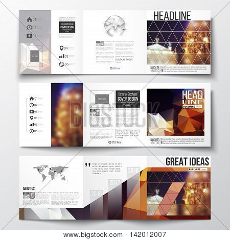 Vector set of tri-fold brochures, square design templates with element of world map and globe. Colorful polygonal background, blurred image, night city landscape, festive cityscape, triangular texture