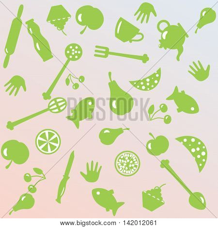 Vector illustration of cooking things and foods