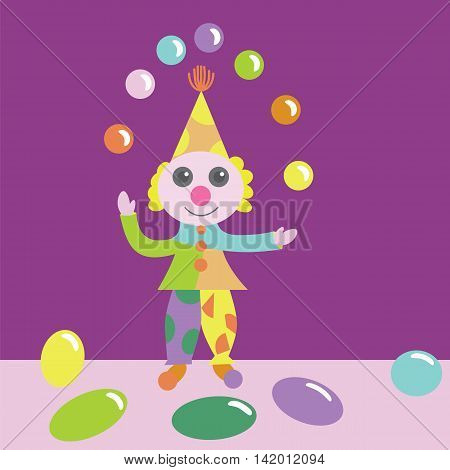 Vector illustration of a clown juggling with balls