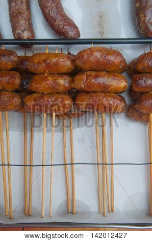 Northeastern Thai style meat sausages at Thai market . It call MAM