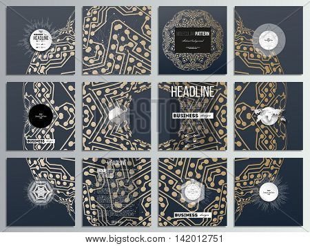 Set of 12 creative cards, square brochure template design. Golden microchip pattern, abstract template with connecting dots and lines, connection structure. Digital scientific vector background