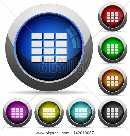 Set of round glossy spreadsheet buttons. Arranged layer structure.