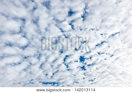 Beautiful Blue Sky With Clouds. Nature Background. Outdoors