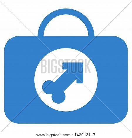 Male Erection Case vector icon. Style is flat symbol, cobalt color, rounded angles, white background.