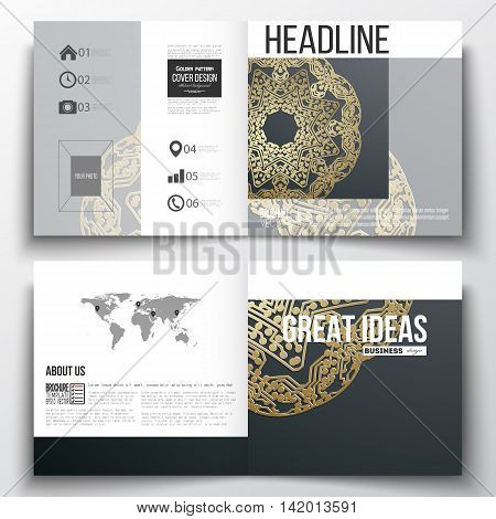 Set of square design brochure template. Golden microchip pattern on dark background, mandala template with connecting dots and lines, connection structure. Digital scientific vector