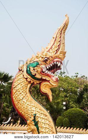 Naga at Wat Nong Wang thai temple at Khon kaen provine in thailand