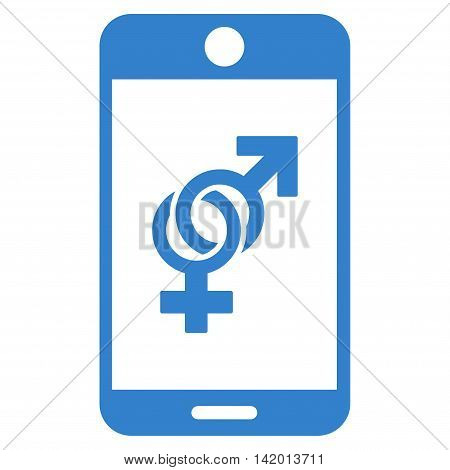 Mobile Dating vector icon. Style is flat symbol, cobalt color, rounded angles, white background.