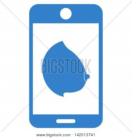 Mobile Erotic Tit vector icon. Style is flat symbol, cobalt color, rounded angles, white background.