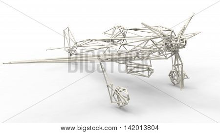 3D Render  - Wire Frame Model Of Airplane With Lattice Effect