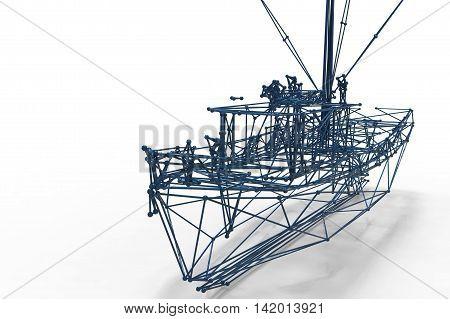 3D Render Illustration Of Boat Structure