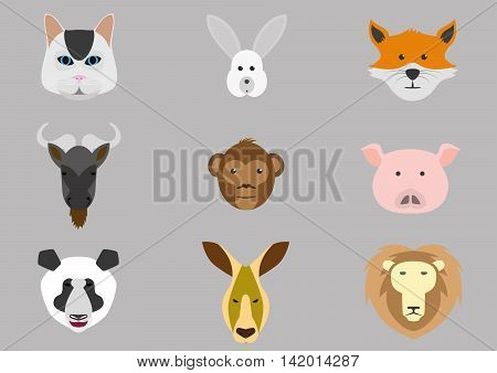 Set of vector icons with the heads of various animals.