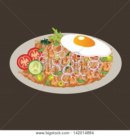 fried rice vector drawing illustration cusine food asian vector