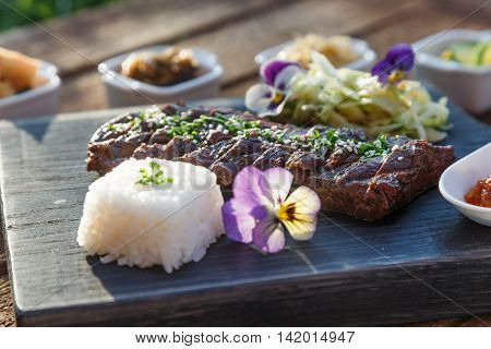 Korean cuisine - barbecue beef grill set of vegetables