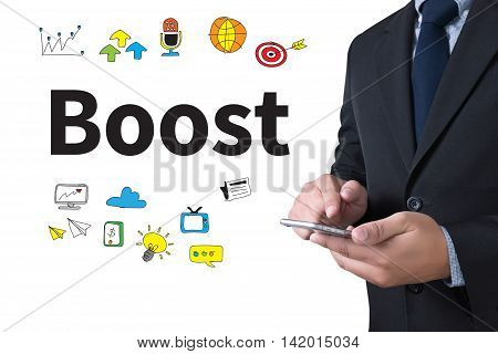 Boost businessman working use smartphone business man work