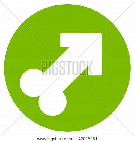 Erection vector icon. Style is flat symbol, eco green color, rounded angles, white background.