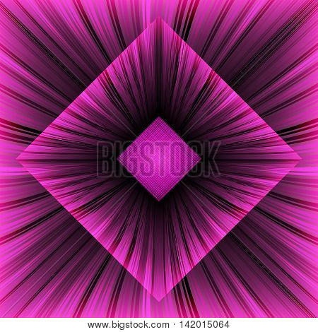 Аbstract background with inscribed boxes. Composition with pink converging rays. 3d vector illustration.