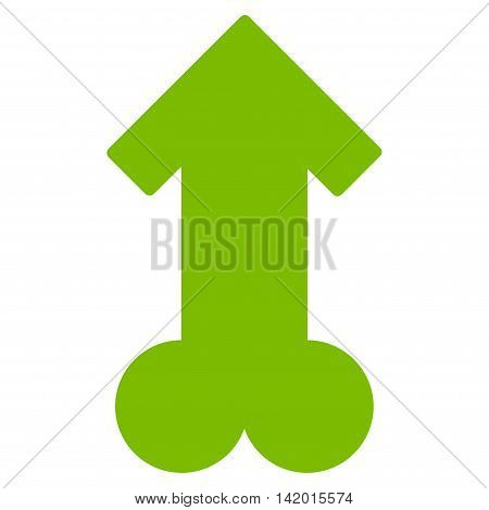 Male Sexual Potence vector icon. Style is flat symbol, eco green color, rounded angles, white background.