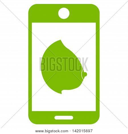 Mobile Erotic Tit vector icon. Style is flat symbol, eco green color, rounded angles, white background.