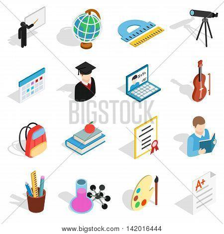 Isometric education icons set. Universal education icons to use for web and mobile UI, set of basic education elements isolated vector illustration